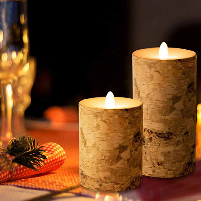 Birch flameless candles via Amazon
