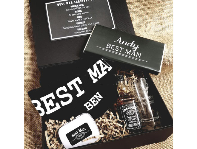 Groomsnmen kit with pair of boxer shorts, mini alcohol bottle and engraved glass, tin of mints, pair of socks, and a chocolate bar
