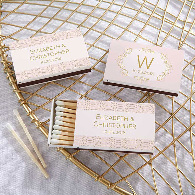 Blush pink and gold matchbooks via myweddingfavors