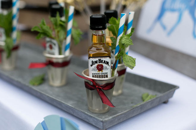Jim Beam Kentucky Bourbon nip bottles via Flour and Fancies.