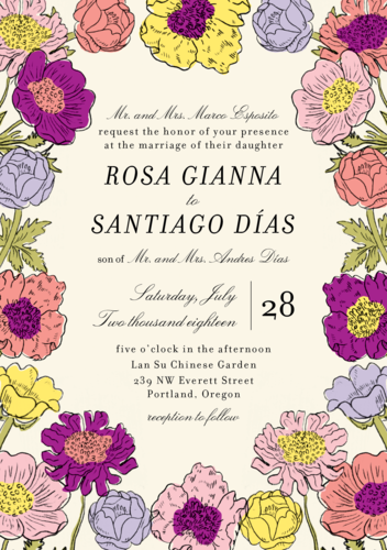 Wildflower Wedding Invitation via Paper Source