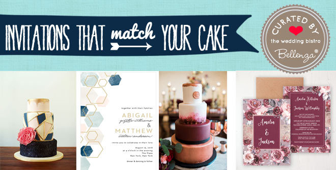 When your wedding cakes matches your invitation style and colors