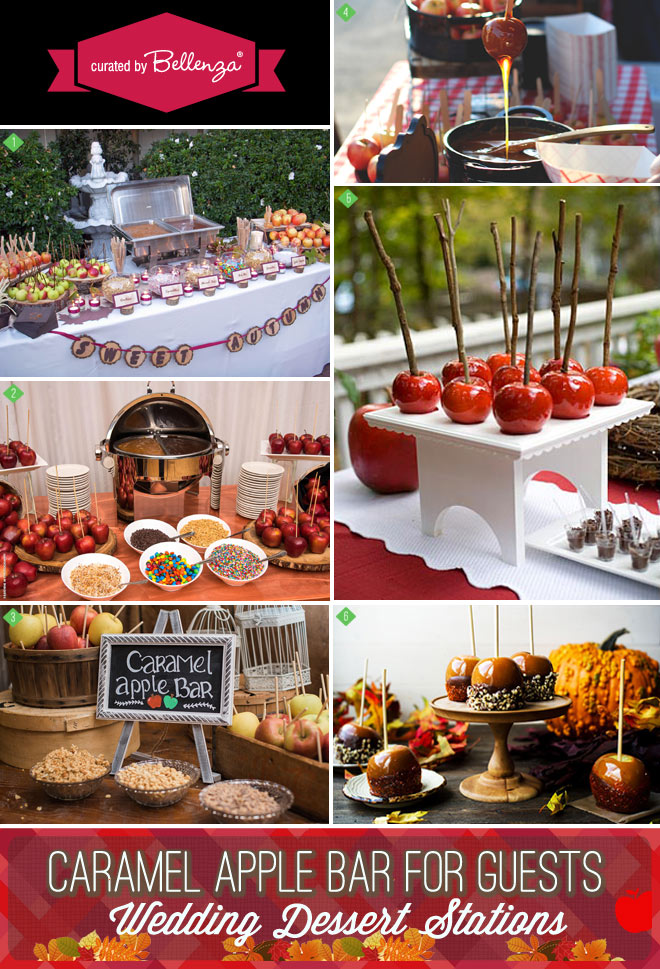 Caramel apple stations for a wedding in the fall