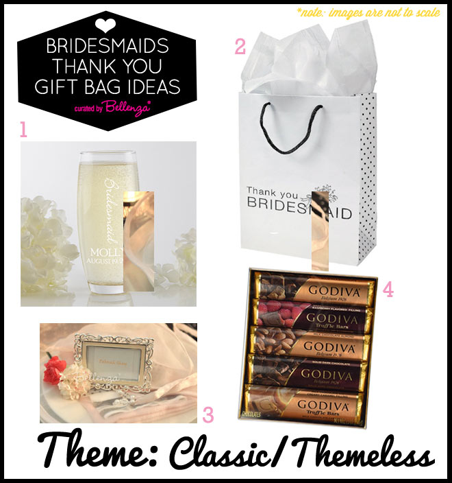 Classic bridesmaids thank you gift bag fillers and contents