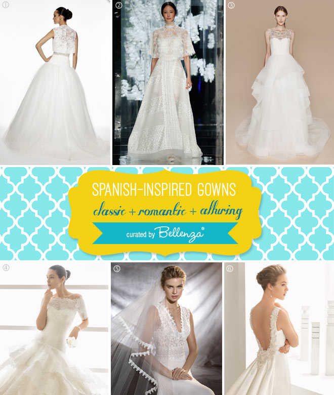 Classic and Alluring Spanish Wedding Gowns // Curated by Bellenza.