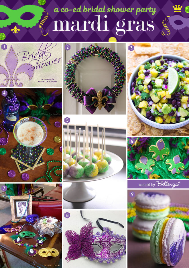 Festive ideas to plan a Mardi Gras Co-ed Bridal Shower Party.