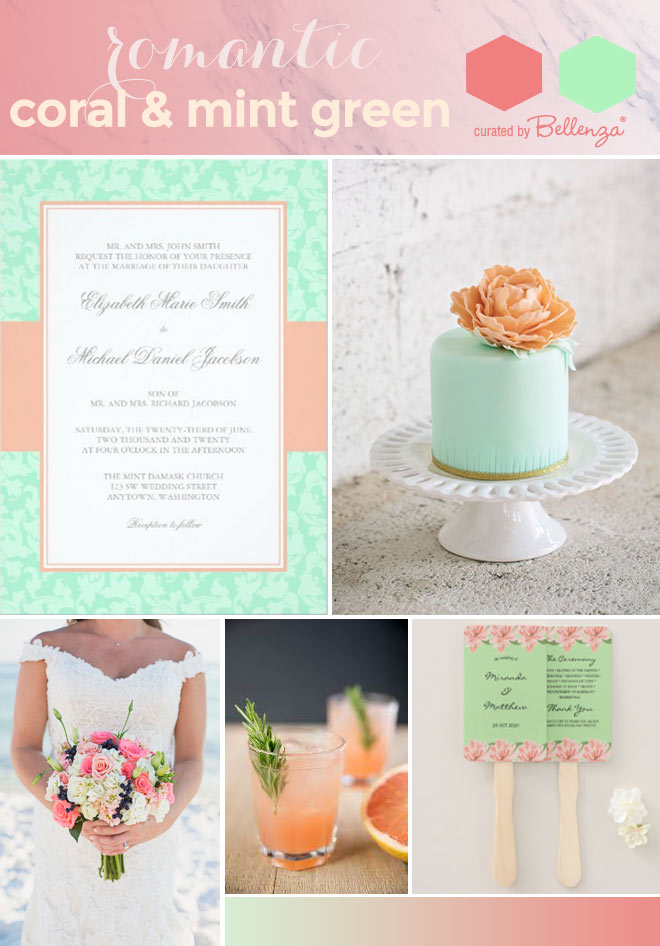 Mint green and coral palette
