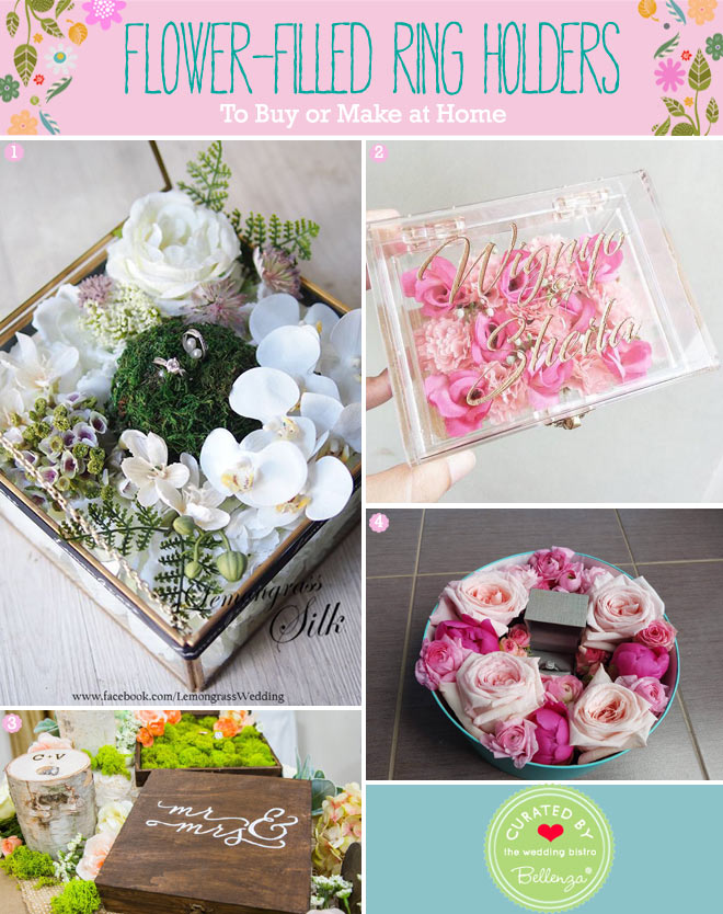 Floral ring boxes and terrarium ring holders for spring wedding ceremony