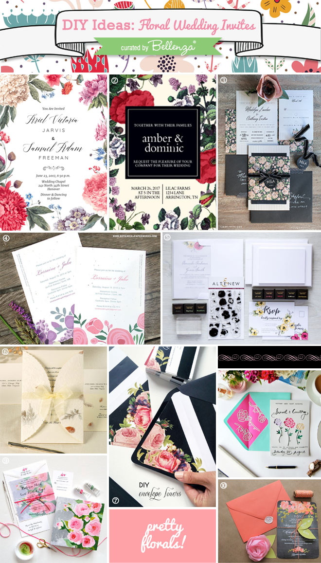 DIY Floral Wedding Invitations to DIY or Semi-DIY // curated by Bellenza.
