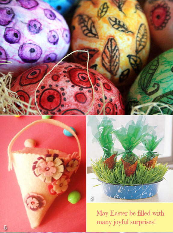Handpainted eggs, felt bags, and carrot cello bags