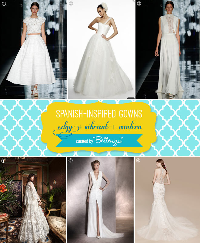 Edgys and vibrant Spanish-insppired weddin gowns // curated by Bellenza.