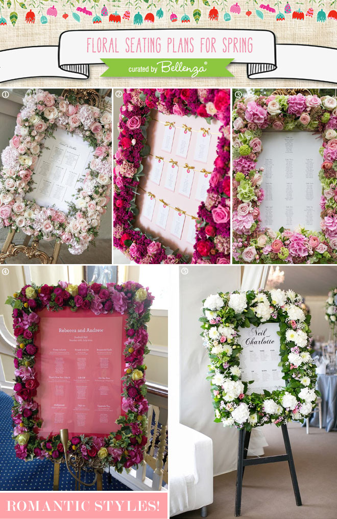 Spring floral seating plans with flowers.