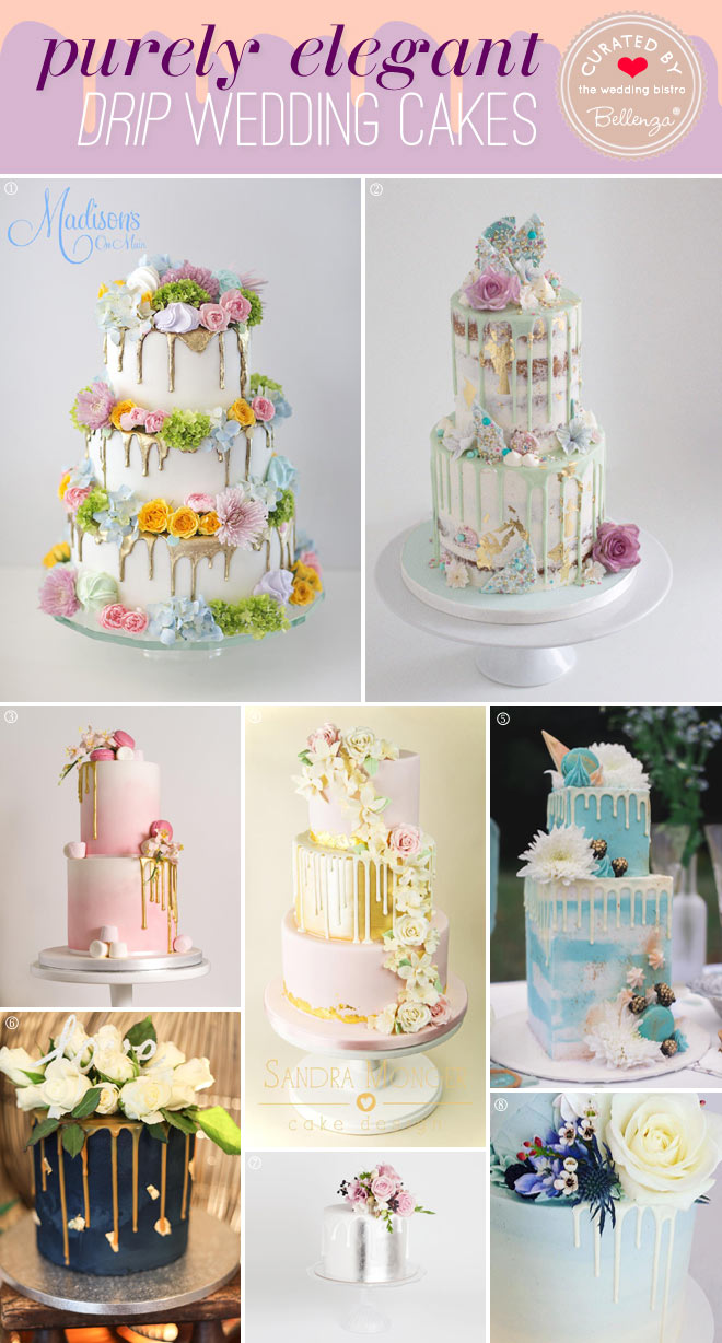 Elegant drip-inspired wedding cakes decorated in floral styles for summer weddings.
