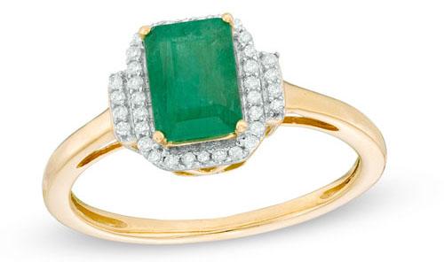 Emerald-Cut Emerald in 10K Gold via Zales