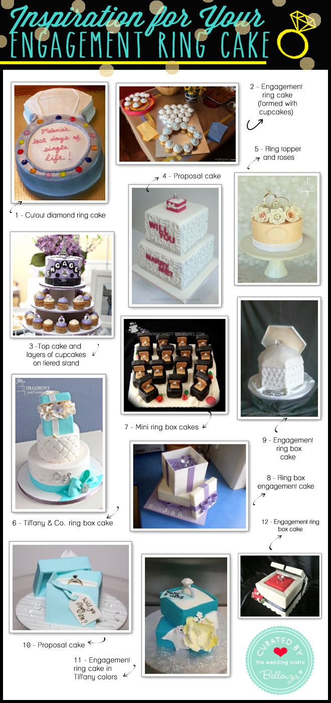 Inspiration for Diamond Engagement Ring Cakes to Order or Make from Cupcakes to Ring Box Cakes