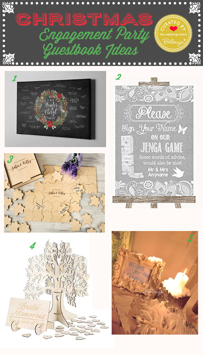 Alternative guest book ideas for Christmas engagement parties