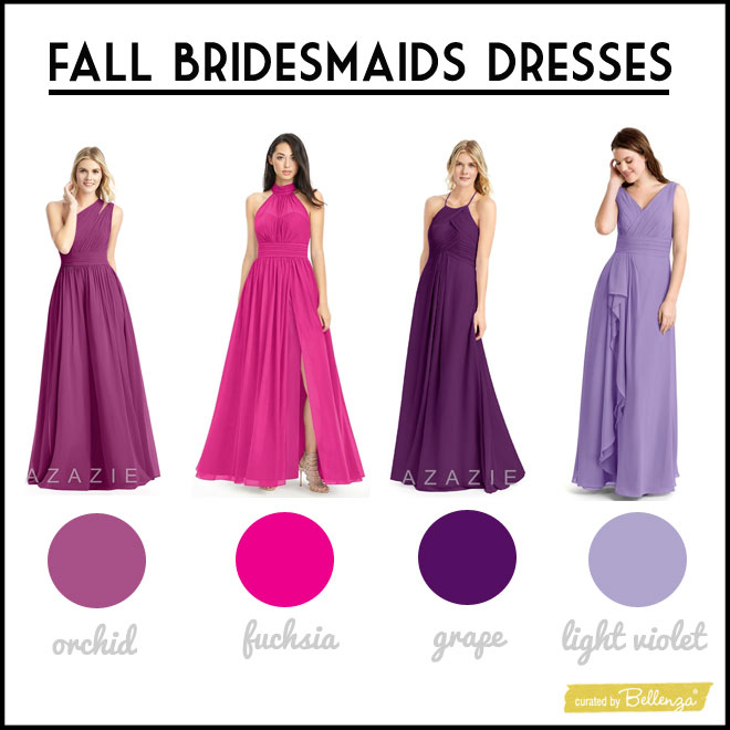 Styles in Hues of Orchid, Grape, Fuchsia, and Light Violet Bridesmaids Dresses