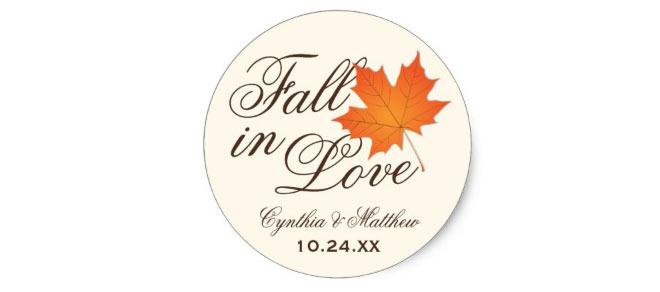 """Fall in Love"" wedding favor stickers"