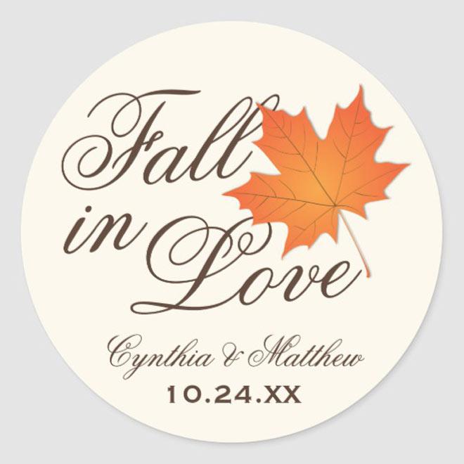 fall in love sticker via zazzle