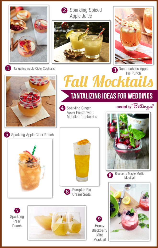 Fall mocktail ideas from pumpkin pie cream soda to apple cider punch.