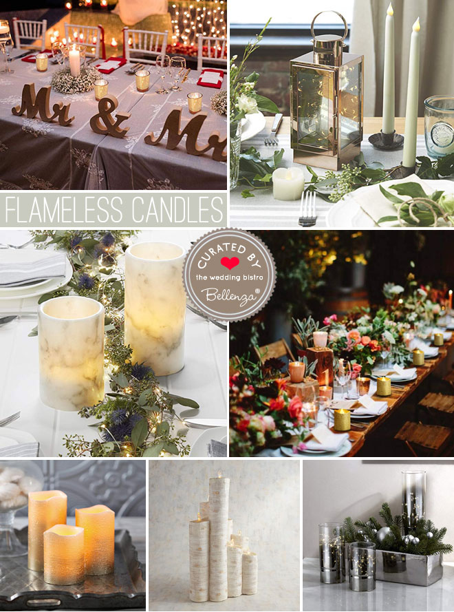 Flameless candle options for decorating wedding tables