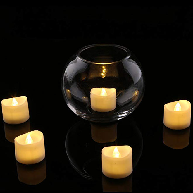 White flameless tea lights via Amazon