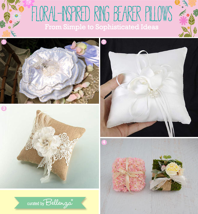 Flowers on ring pillows made of fabrics.