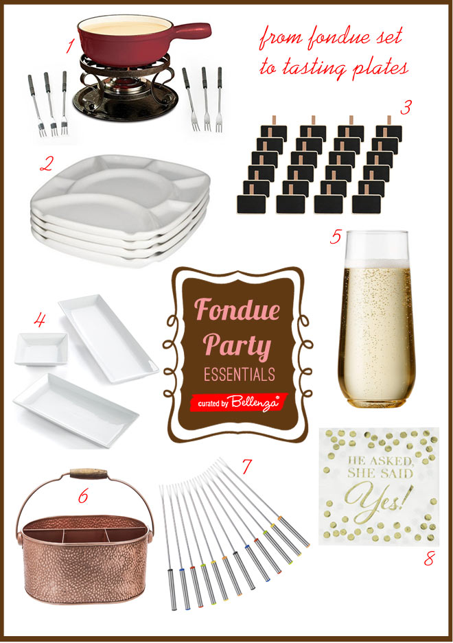 Fondue party essentials from plates to forks.