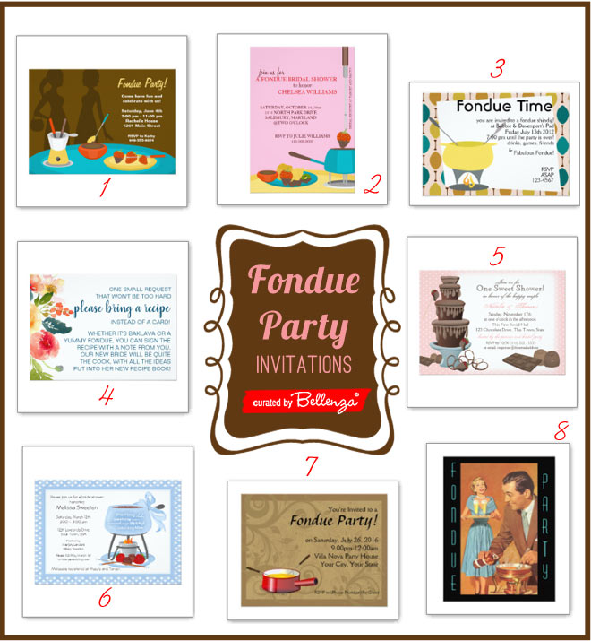 Fondue bridal shower party invitations