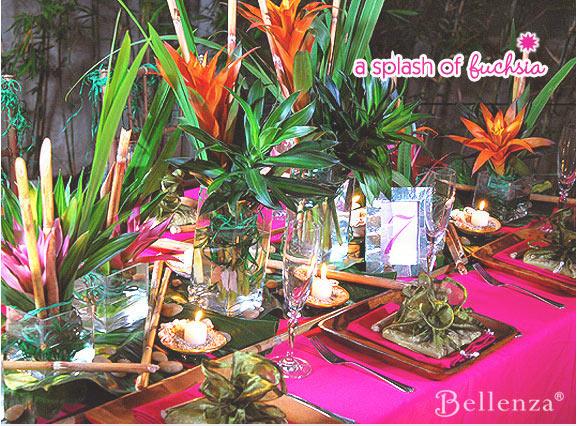 Fuchsia and green Hawaiian tablescape