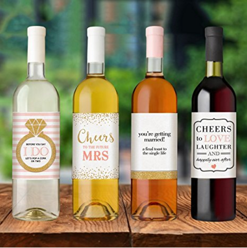 Glamorous wine bottle labels (water-proof glossy labels) // curated by Bellenza.