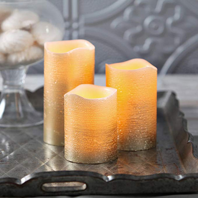 Distressed gold flameless candles
