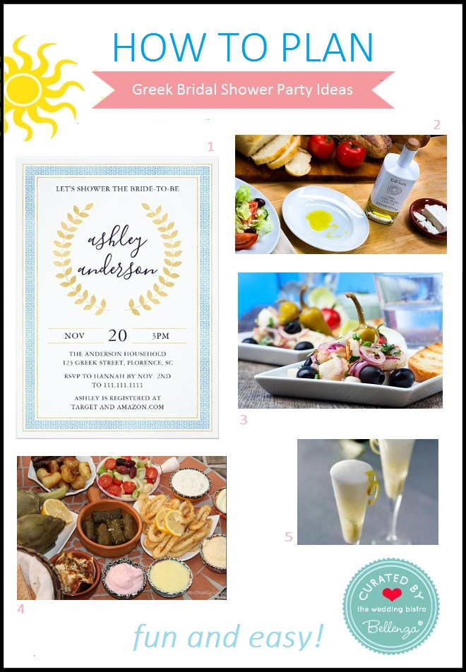 Greek bridal shower food, drinks, and invitation
