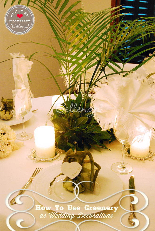 Arrange centerpieces of assorted leaves.