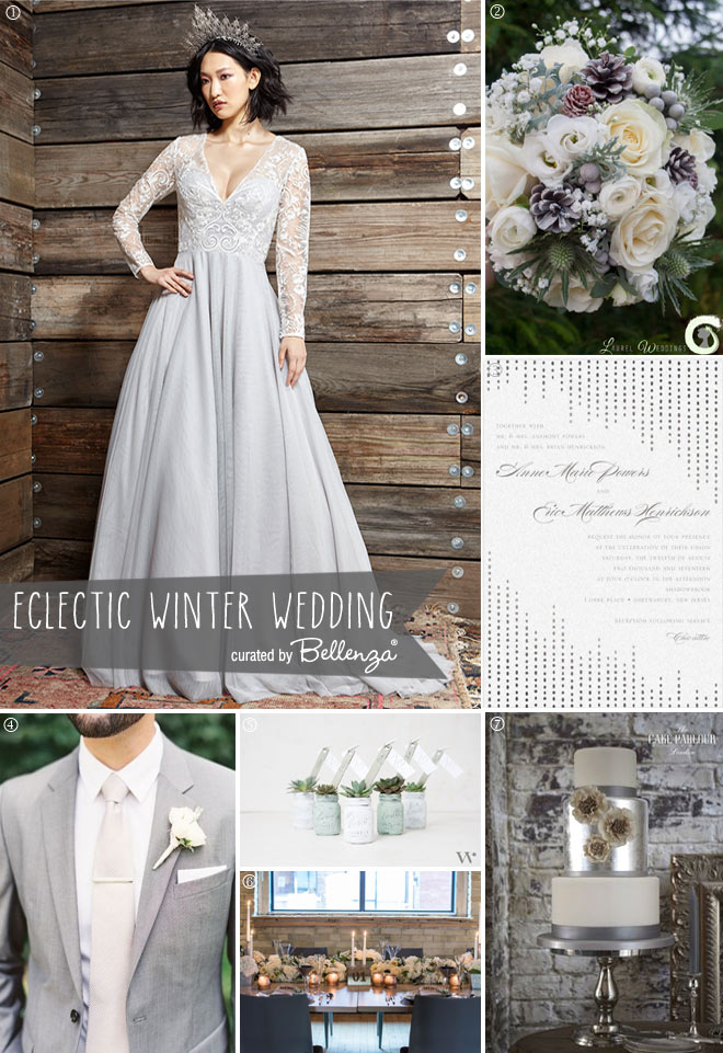 An Elegant Eclectic Mix | Rustic and Industrial + Vintage Grey Winter Wedding
