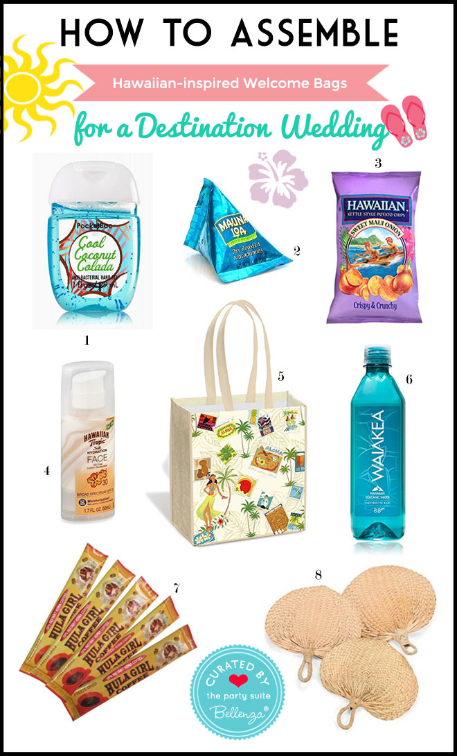 Hawaiian-themed Welcome Bag for a Destination Wedding. OOT bags to welcome guests.