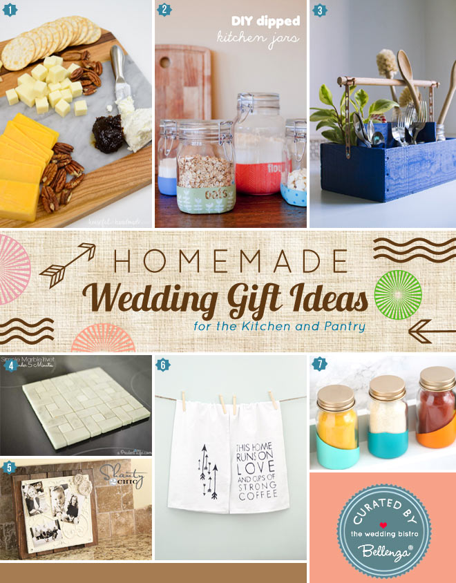 Homemade Wedding Gifts that are for the couple who likes to cook from utensil caddies to tea towels.