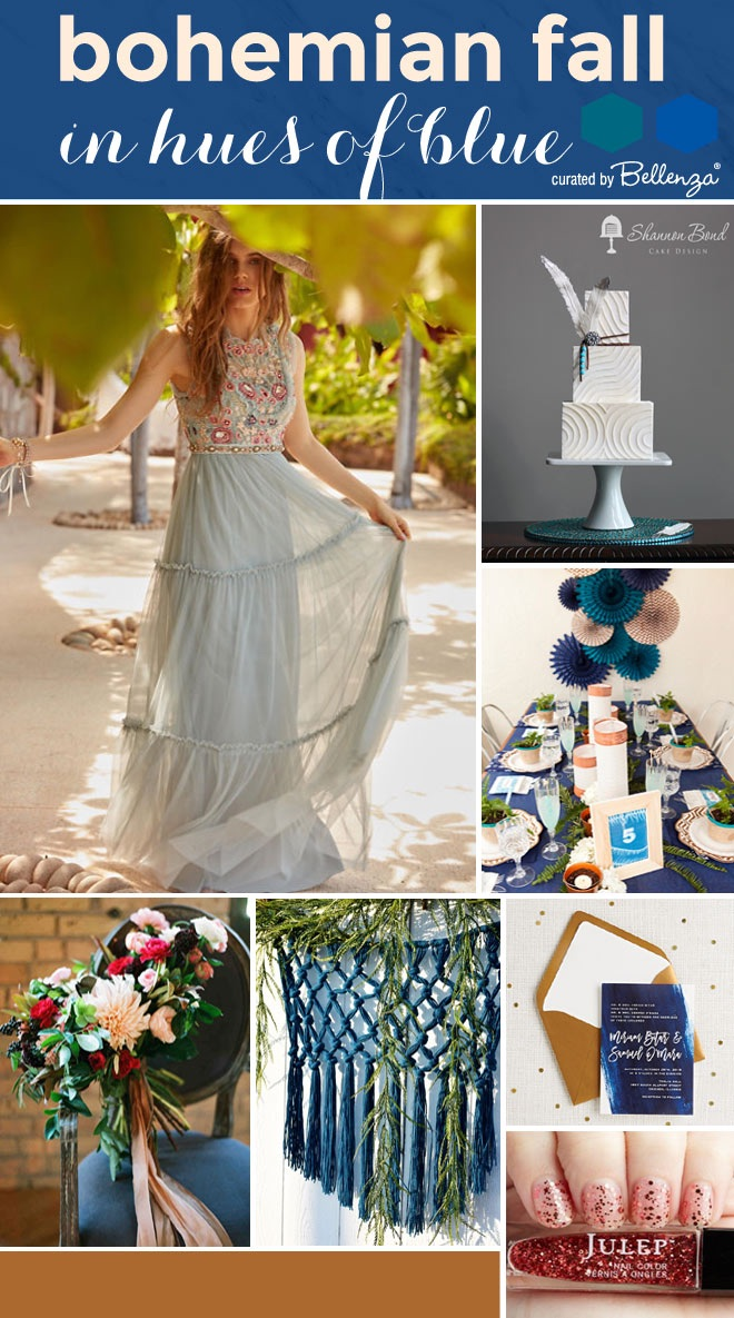 Modern boho blue wedding for fall.
