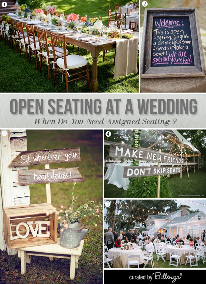 Open seating at a wedding without place cards.