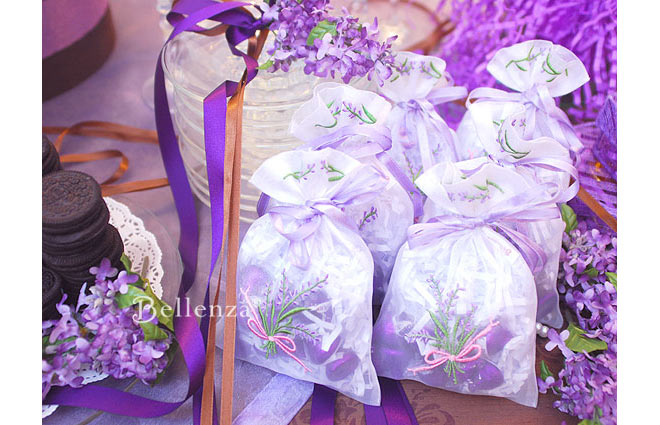 Lavender bags with purple chocolates for a bridal shower.