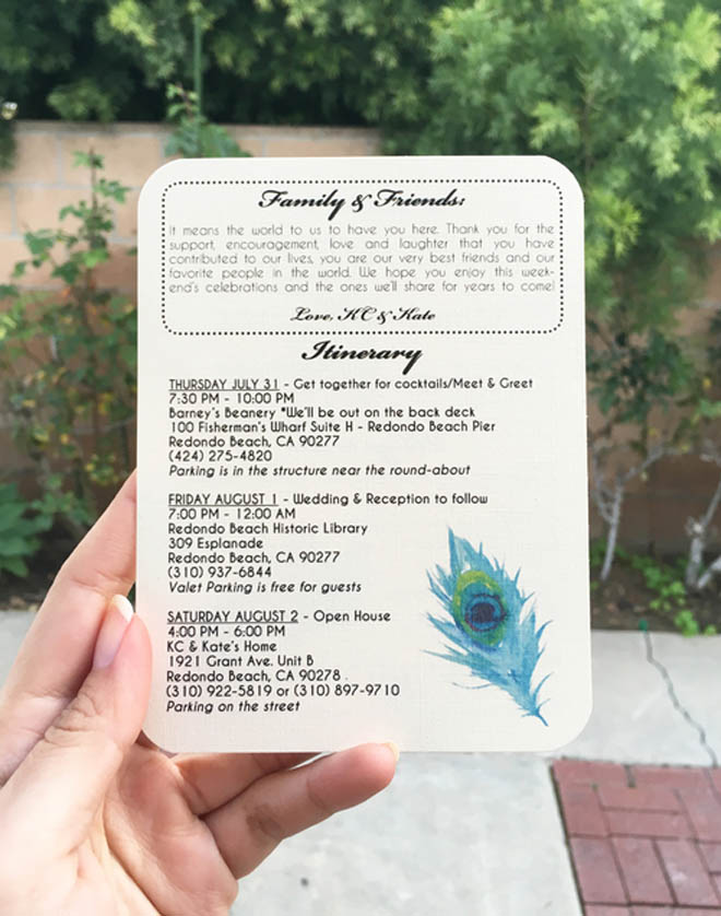 Itinerary Card for a Redondo Beach Wedding