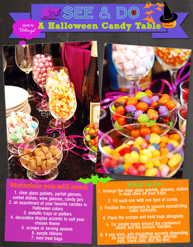 Halloween candy table with colorful snacks and candies
