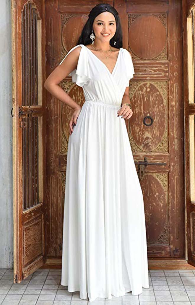 V-Neck Ruffle Sleeveless Maxi Dress