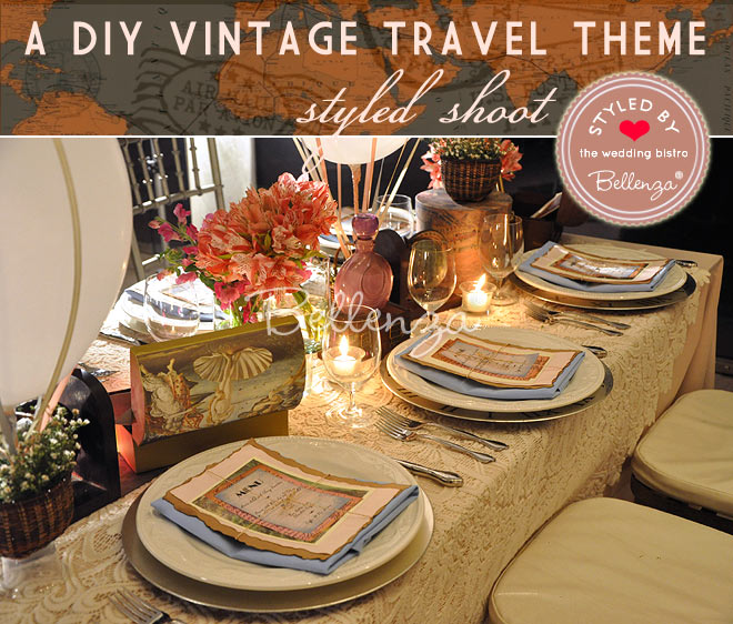 Elopement dinner theme: vintage travel theme