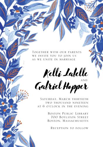 Copper Foil Stamped Indigo Trellis Wedding Invitation via Paper Source
