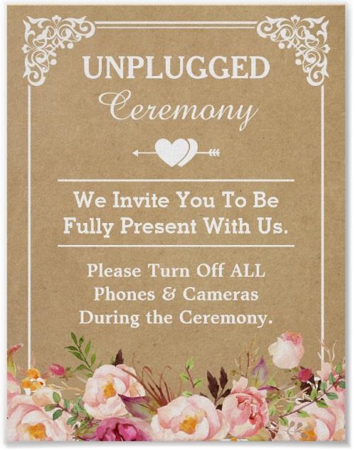 Unplugged floral vintage ceremony signage