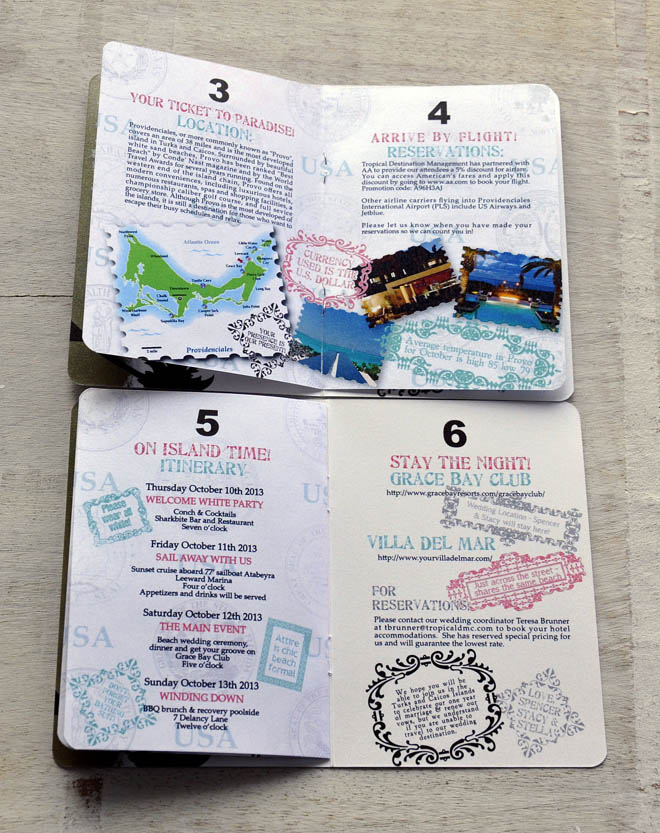 Passport-style Beach Wedding Itinerary