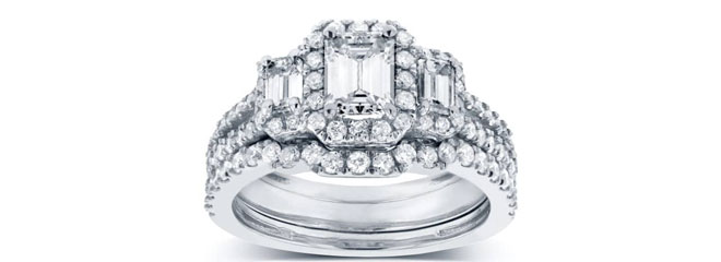 Emerald Cut Diamond 3-Stone Halo Wedding Set 1 1/2 CTW Ring via Kobelli