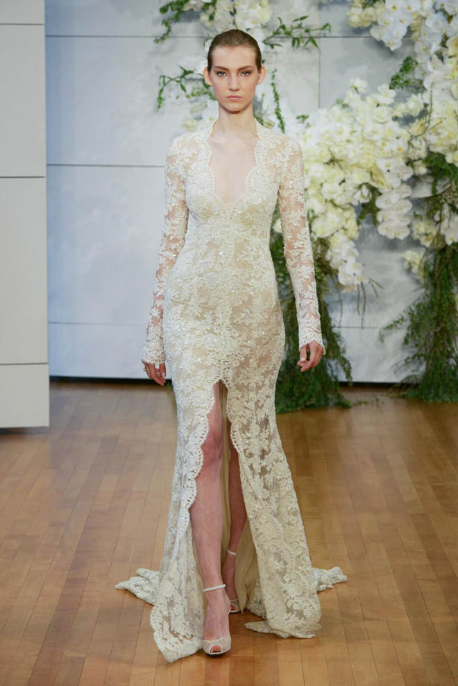 Lace Slit Gown, from the Monique Lhuillier Spring 2018 Collection