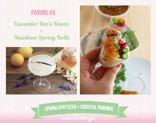 Lavender Bee's Knees and Rainbow Spring Rolls